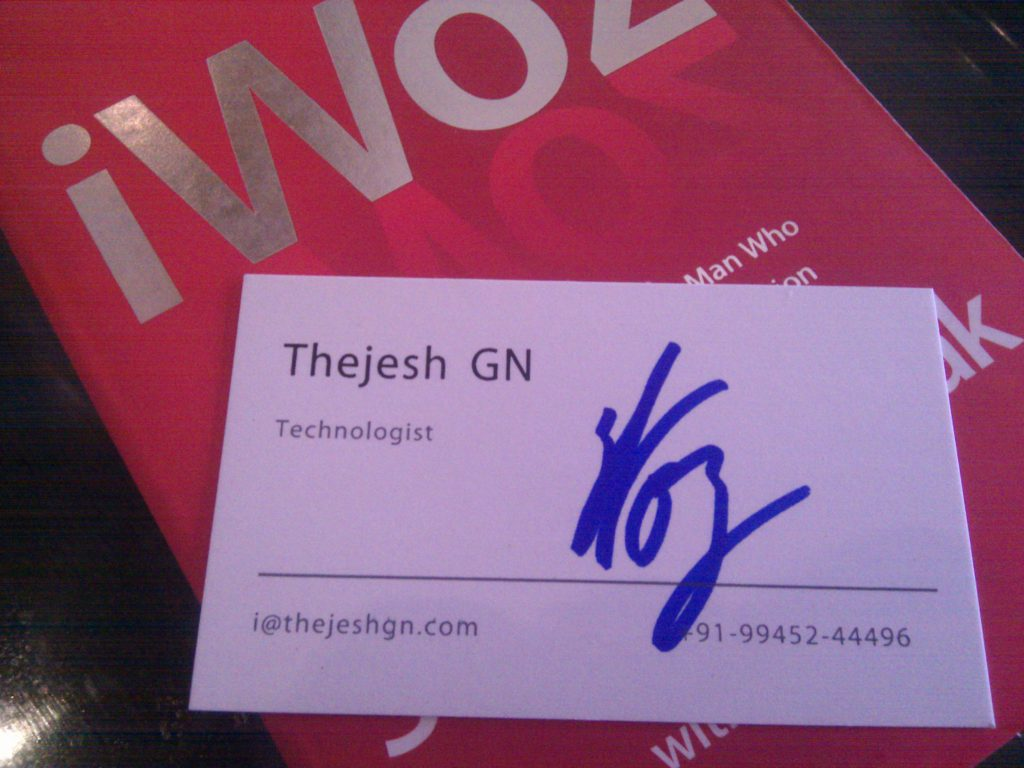 Autographed card.