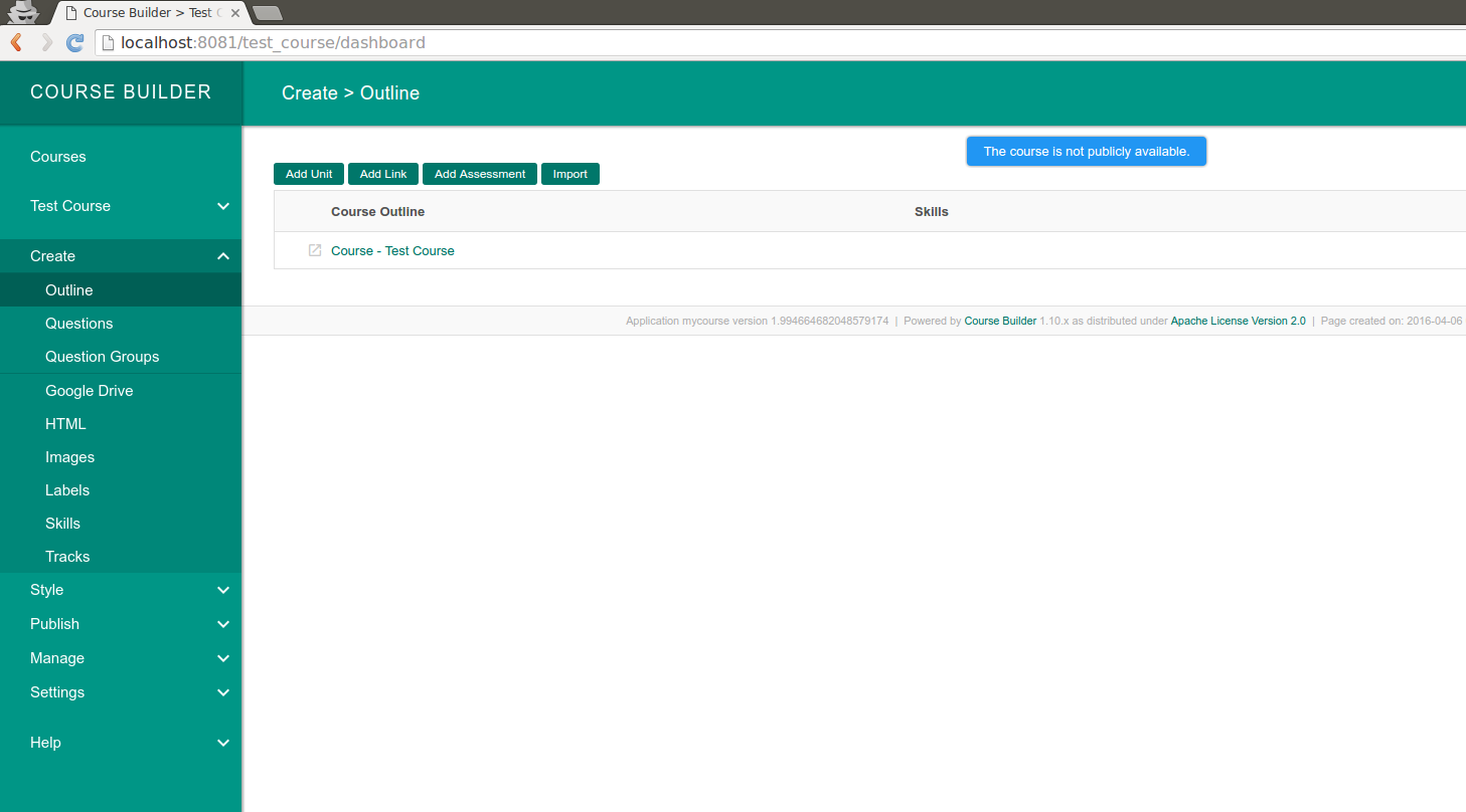 Admin - Course Outline, You can add course components here.