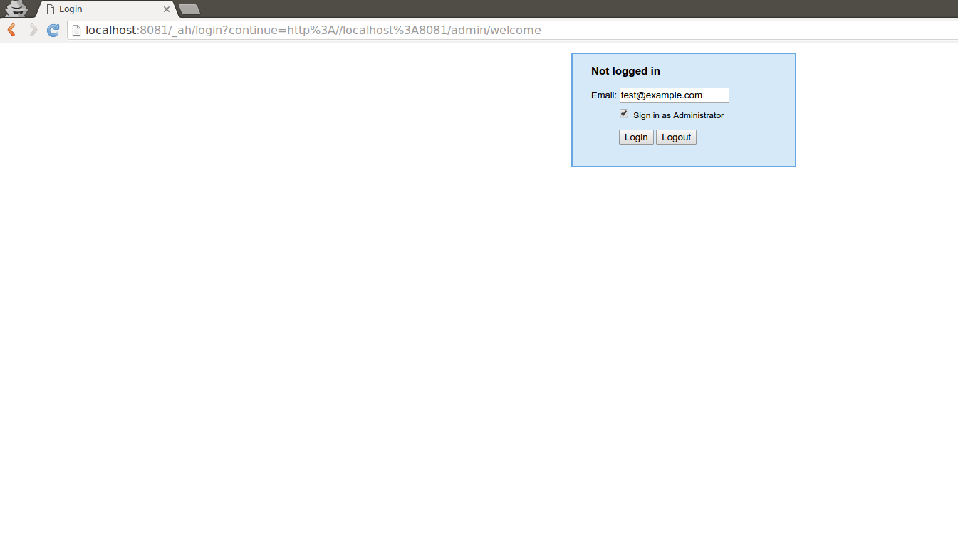 Login page on local dev server. This is only dev server feature.