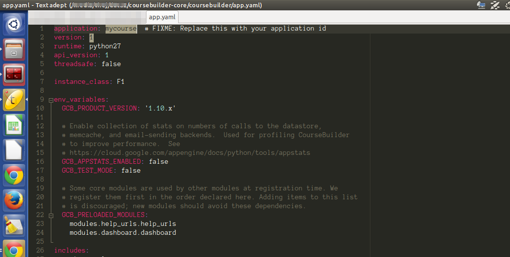 Edit app.yaml to change project name (application) and version.