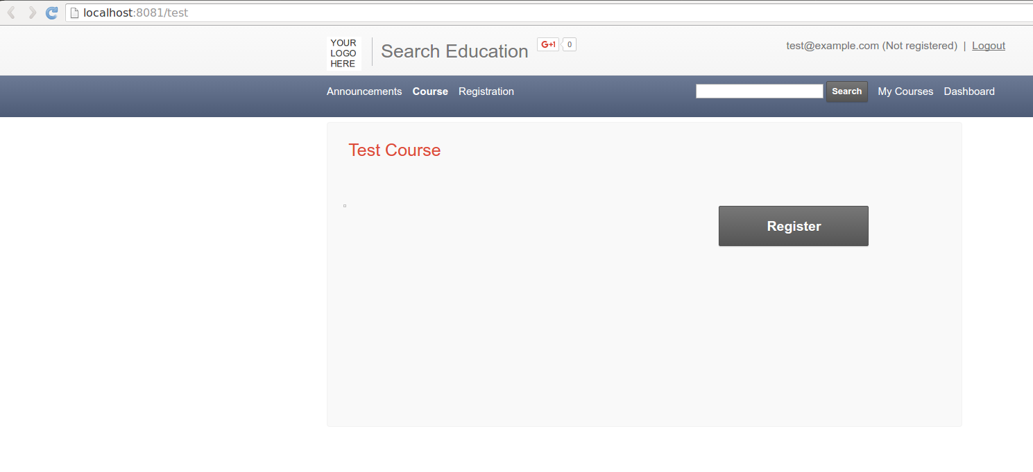 User: Course page with registration required.