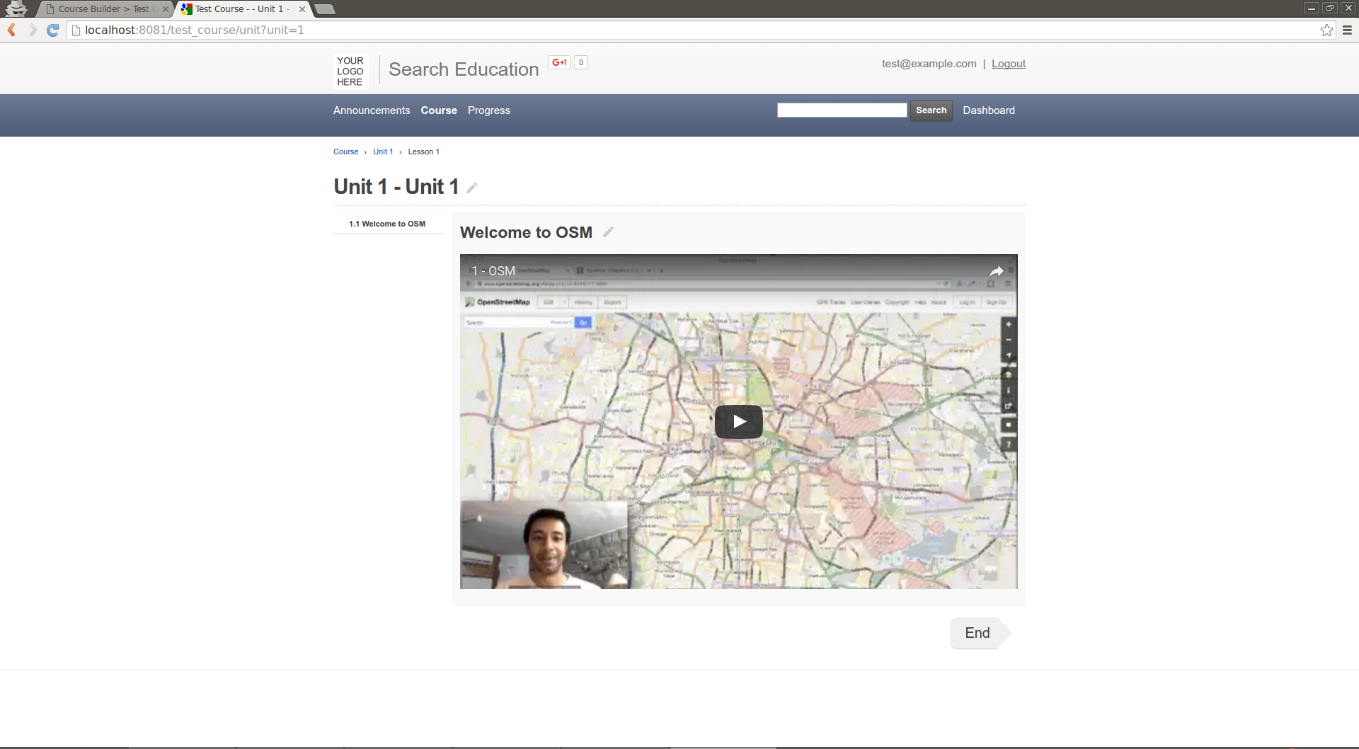 User: Course lesson page