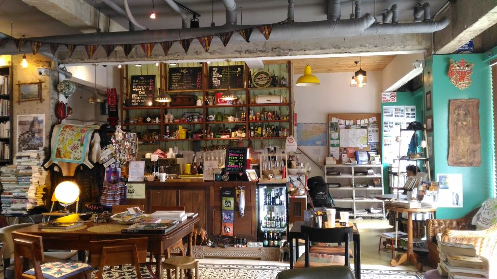 Inside pedro's cafe. Its like traveller's  museum.