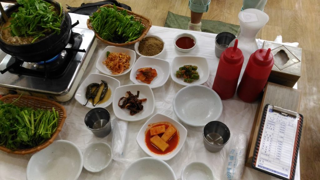 Dishes on the table. On left top we have our main dish cooking.