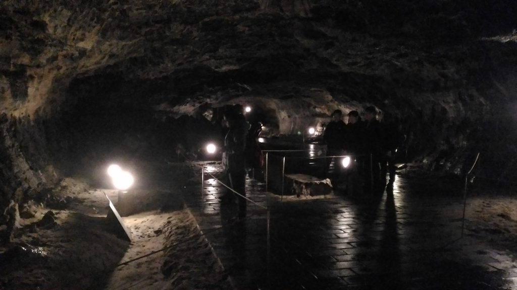 Caves are quite dark and cold. Thank fully there is enough artificial light.