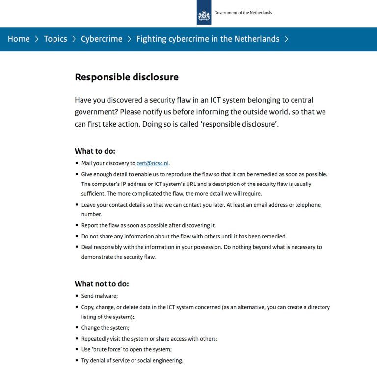 Guidelines Responsible disclosure from NCSC