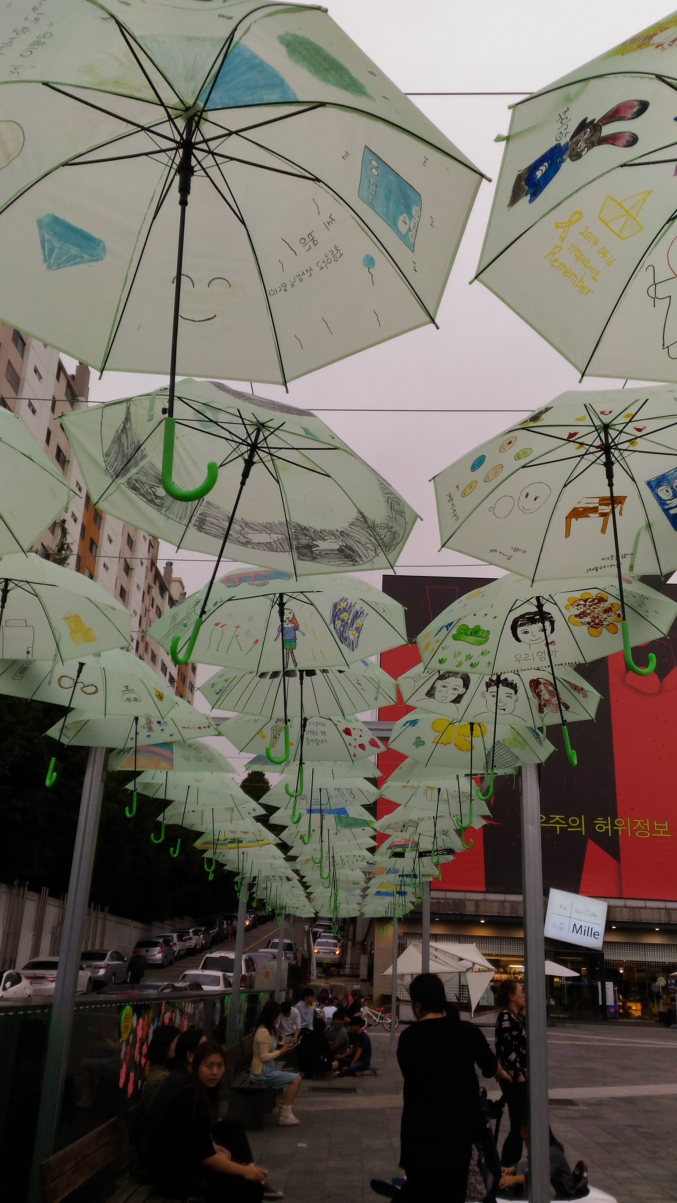 By children, drawings on umbrellas.
