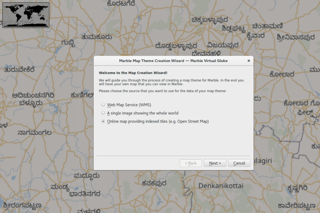 Select the map type. OSM tile maps in this case.