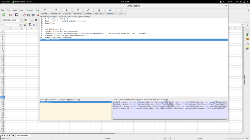Screenshot of APSO debugger