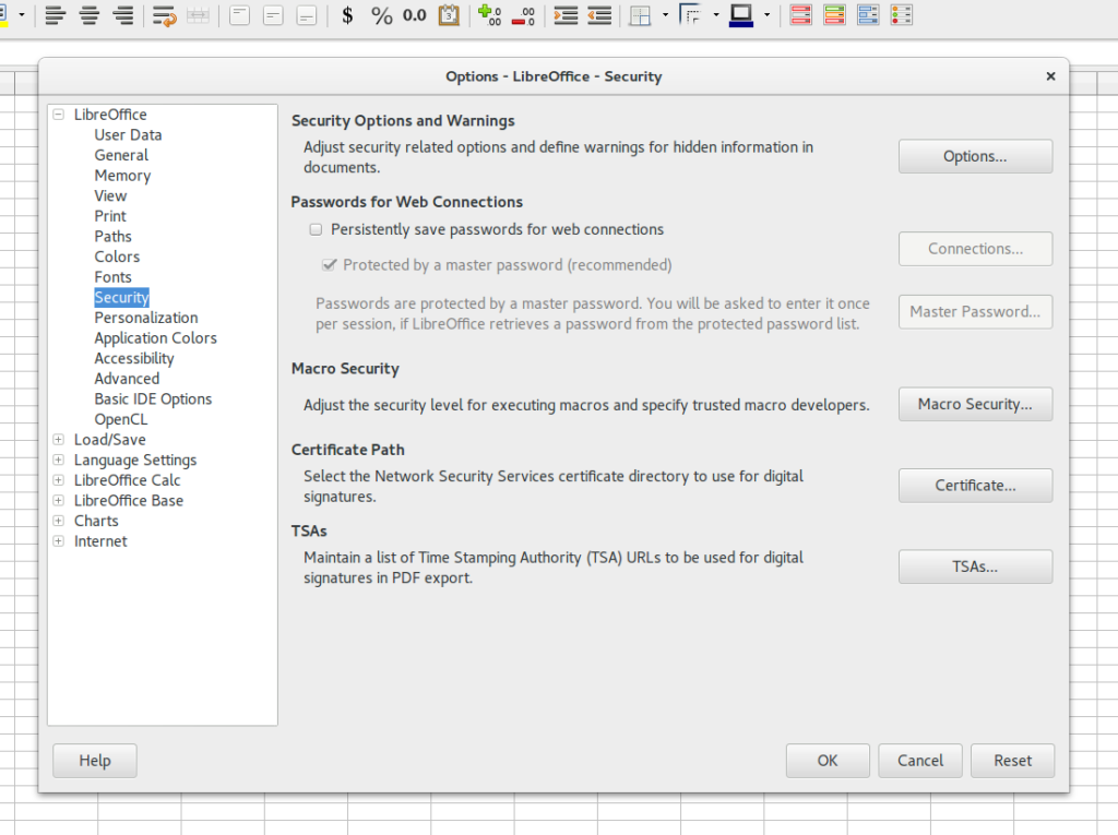Screenshot of Libreoffice Option Settings