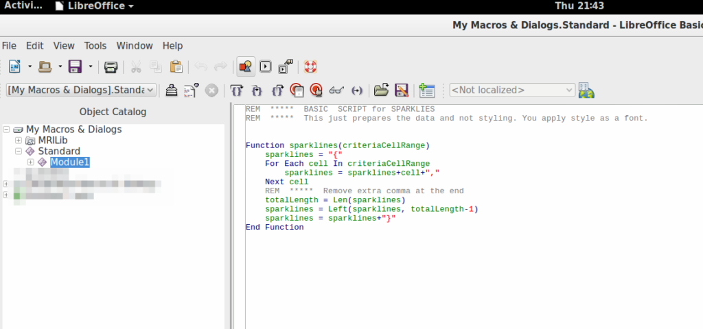 Screenshot of Creating a macro