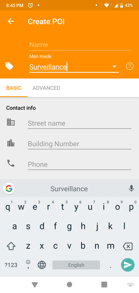 Type Surveillance in tag. It's a filterable drop down, so you can select the option after typing couple of letters.