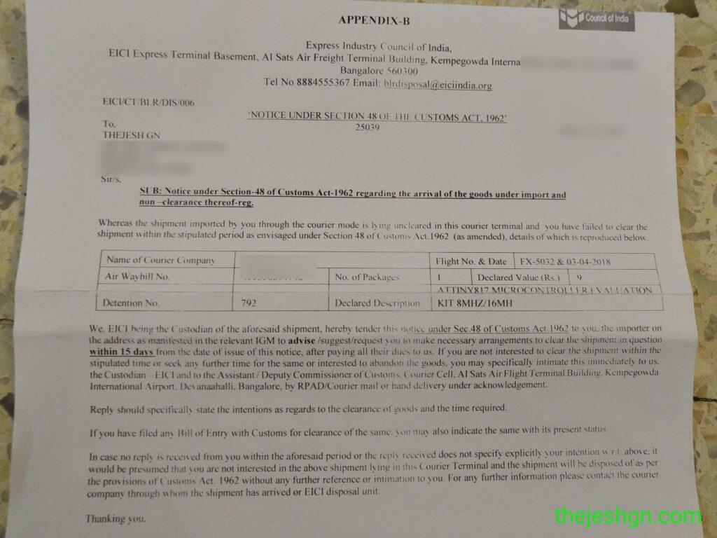Customs Letter