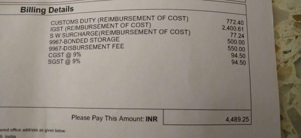 Screenshot showing import tax.