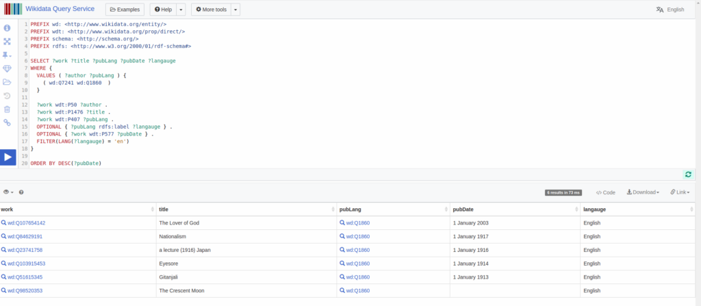 Wikidata Query Interface